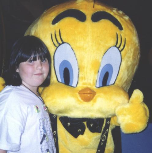Hugging what was then the love of her life..  Tweety.